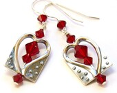 Ruby Crystals and Sterling Silver Heart Earrings