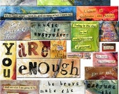 Collage Words - INSTANT DOWNLOAD - Digital Collage Sheet for journals  aceo atc jewelry making art scrapbooks