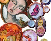 INSTANT DOWNLOAD - Bubbles - Digital Collage Sheet for journals  aceo atc jewelry making art scrapbooking