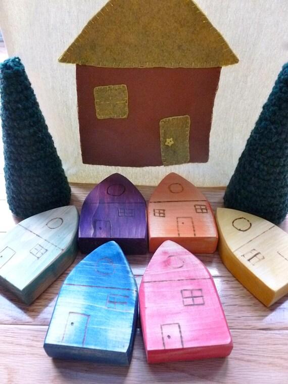 Wood rainbow houses with trees