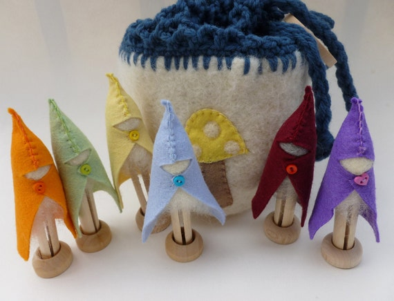 Clothes pin gnome set in felted pouch