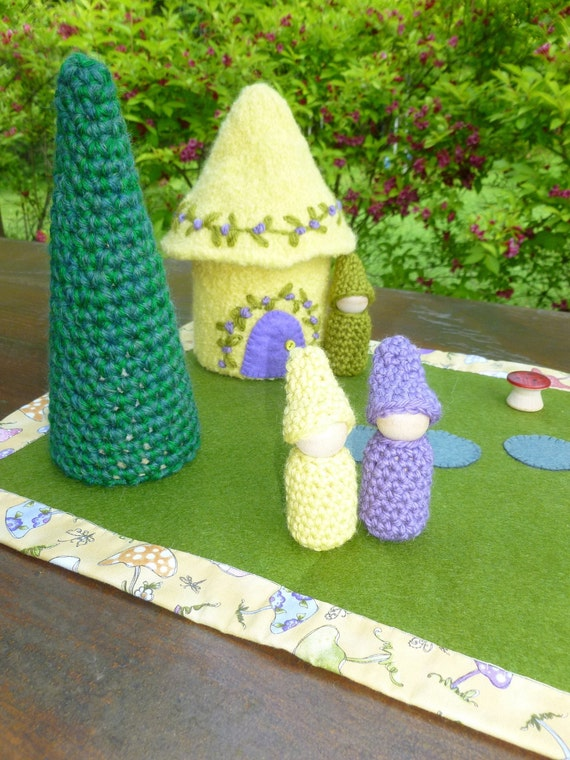 Felted Wool Gnome Home and play mat set