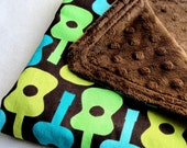 Baby Boy Security Blanket - Groovy Guitars with Brown Minky Dot - Ready to Ship