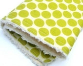 Holiday Sale - Free Shipping - Chenille Burp Cloth - Full Moon Lime - Ready to Ship