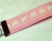 Elephant - Keychain Wristlet - Key Fob - Pink Elephants