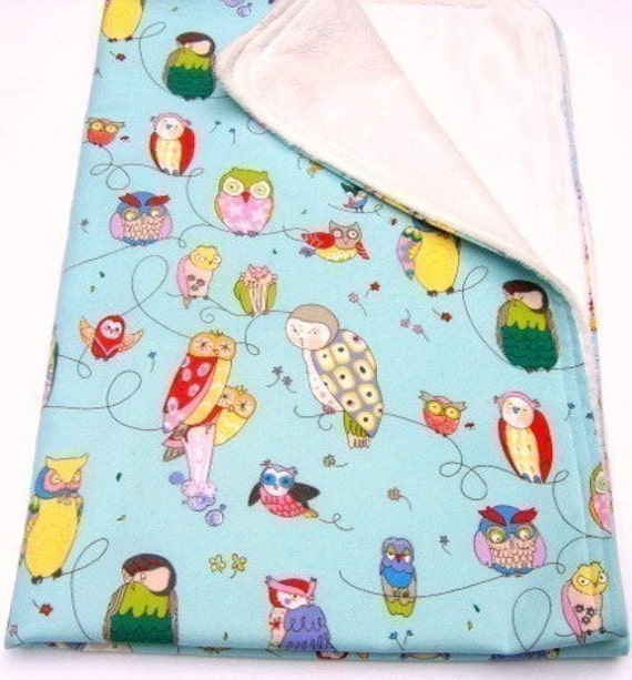 Holiday Sale - Free Shipping - Minky Baby Blanket -  Spotted Owls on Blue