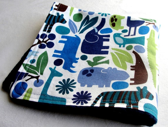 Holiday Sale - Free Shipping - Blue 2 D Zoo  Minky Blanket