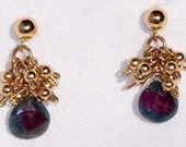 Delicate Ruby Zoisite and Gold Earrings