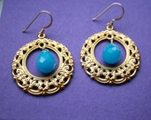 Round Gold Filigree with Blue Quartz Earrings