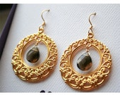 Round Filligree earrings with smoky quartz briollettes