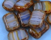 Glass Table Cut Window Beads Sapphire White Picasso 10
