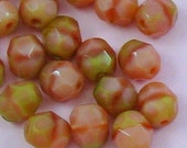 Czech glass faceted firepolish beads  6mm pink coral olivine 20