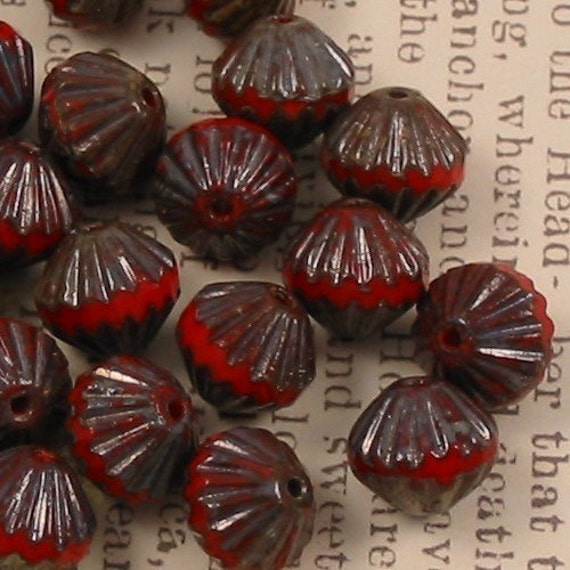 Czech glass fluted firepolish beads red picasso 20