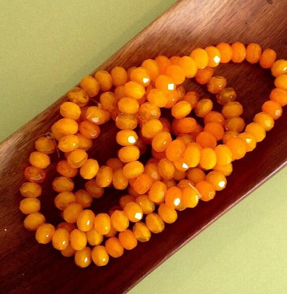Czech glass firepolished gemstone rondelle beads tangerine orange 25