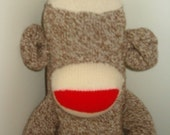 Blank Red Heel Sock Monkey Stuffed Animal Ready for You to Decorate
