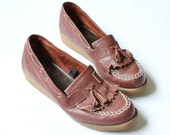 vintage 1970's RUSTIC FRINGE leather tassel boat shoe wedge