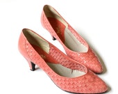 vintage 1980's CORAL SPRING pink woven leather heels shoes
