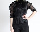 vintage 1980's MAGIC FEATHER beaded sheer sleeve silk satin blouse