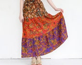 vintage 1970's PAISLEY GRADIENT tiered maxi skirt