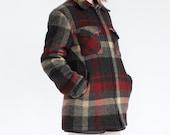 vintage 1980's woolrich RUSTIC CABIN plaid wool slim fit jacket coat