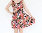 vintage 90's bright SUMMER BLOOM floral flower print rayon mini dress