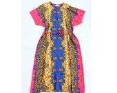 vintage 1970's soft rayon GILDED BRANCH colorful muumuu tunic dress