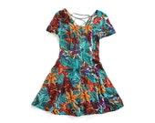 vintage 90's NIGHT TROPICS cross tie open back floral mini dress
