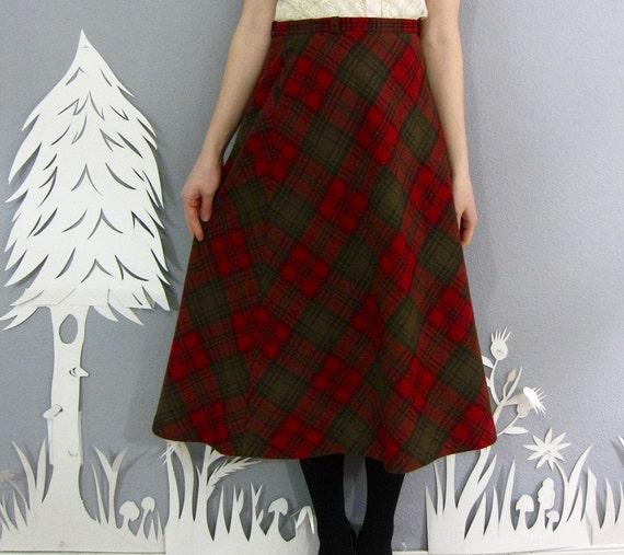 vintage 1970's POPPY GARDENER wool skirt