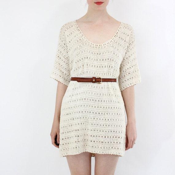 vintage 1970's SPRING BREEZE sheer crochet tunic