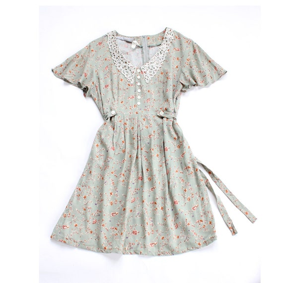 vintage 90's SAGE GARDEN lace collar flutter dress