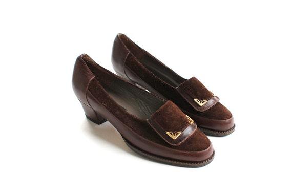 vintage 1970's CHESTNUT LEATHER suede gold tip heels shoes