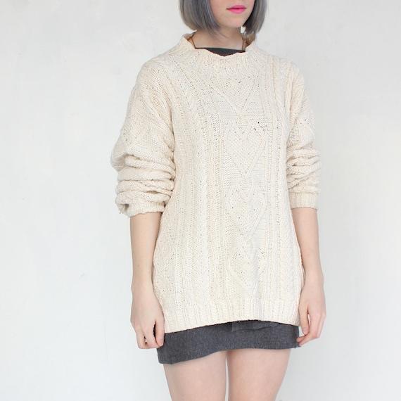 vintage 90's SOFT HEART cream fisherman cotton sweater