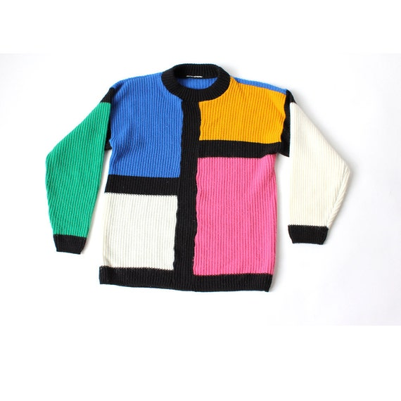 vintage 1980's COLOR BLOCK bold soft sweater