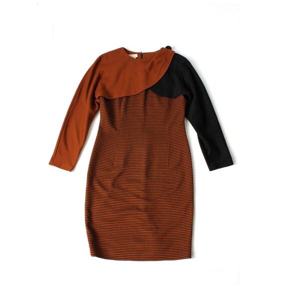 vintage 1980's CHESTNUT STRIPE layered petal knit dress