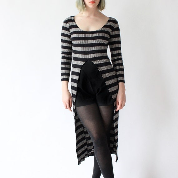 vintage 90's CHIMNEY SMOKE unique split striped cut out dress