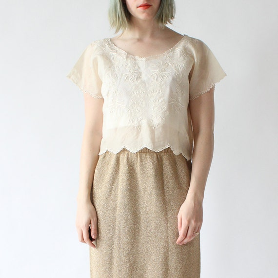 vintage 1970's SHEER SCALLOP edge embroidered cropped peasant blouse