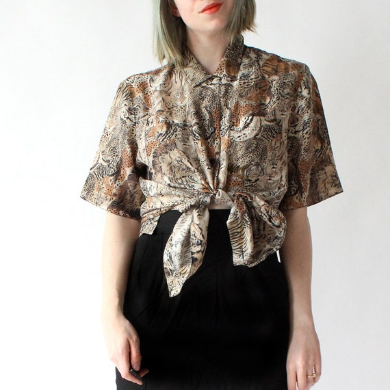 vintage 90's WILD ANIMAL wildcat print silk blouse