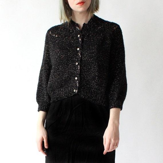 vintage 1960's GOLD SHIMMER black rhinestone cardigan sweater