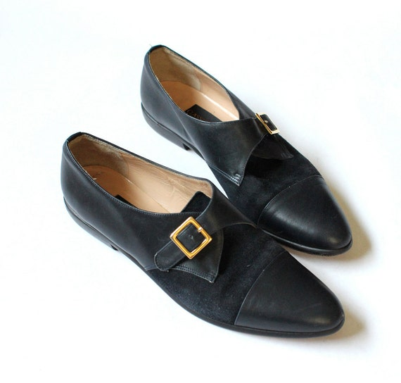 vintage 90's NAVY GOLD suede and leather buckle oxford flats shoes