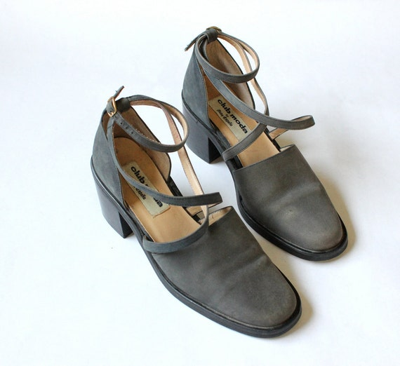 vintage 90's CHARCOAL SMOKE criss cross ankle strap shoes heels