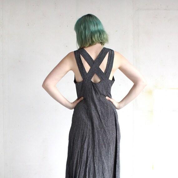 vintage 90's GALAXY DOT black white cross strap rayon maxi dress