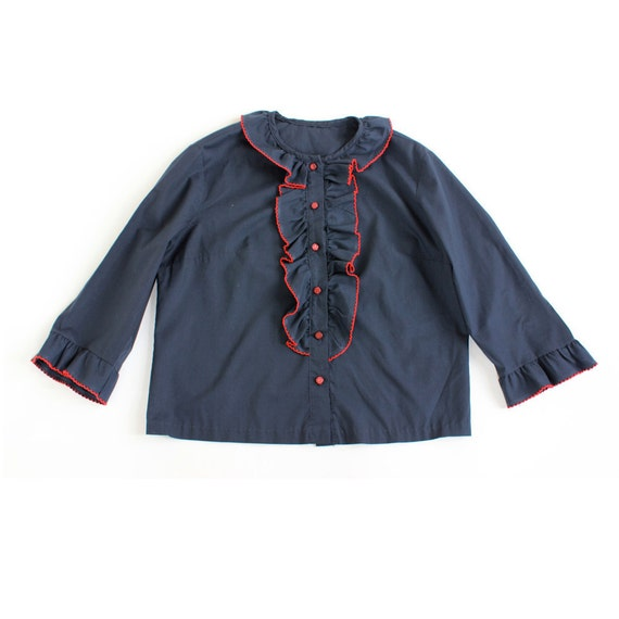 reserved for KF vintage 1960's SAILOR GAL nautical navy blue red ruffle blouse