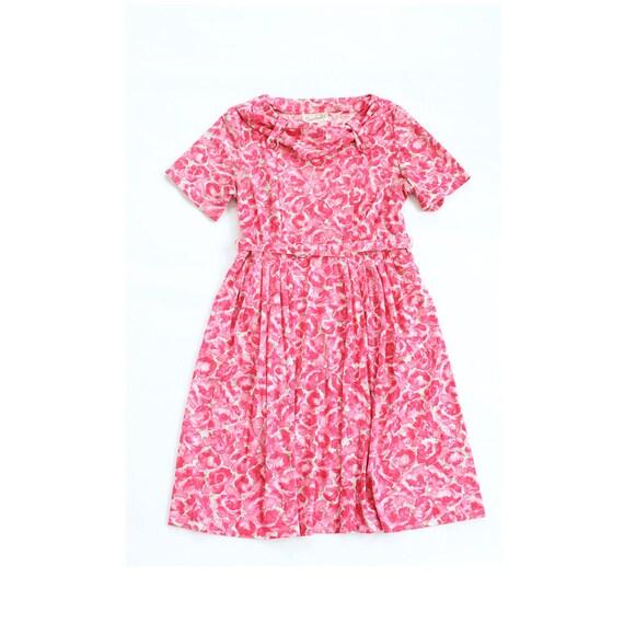 vintage 1950's ROSE GARDEN floral summer belted dress