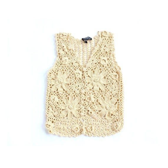 vintage 1970's BUTTERCUP LACE crochet cotton sheer floral vest top
