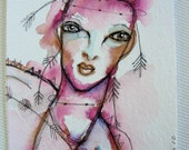 ACEO original artwork, ink and watercolor  - An imagination