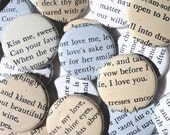 Handmade Wedding Favors - 100 1 Inch Pinback Buttons - Love Poems