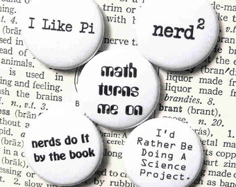 nerd power- 1 Inch Pinback Button Set of 5
