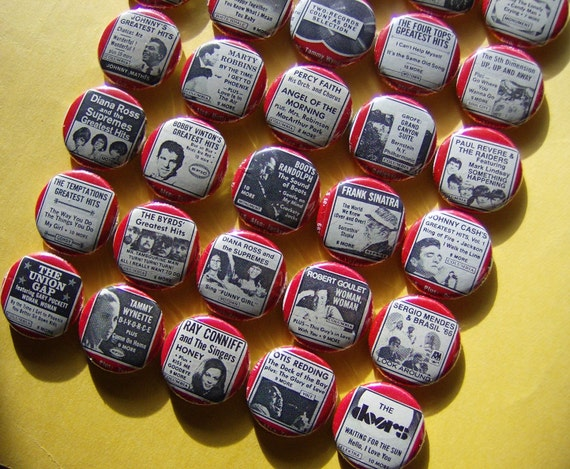 Handmade Wedding Favors - 50 1 Inch Pinback Buttons - Record Club -