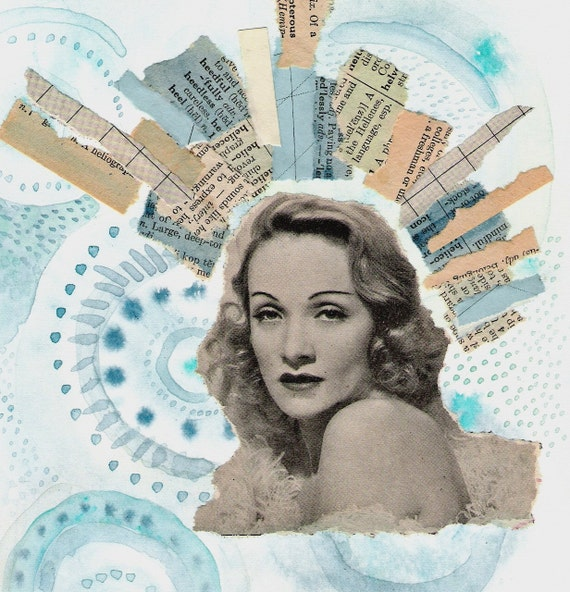Original Mixed Media Collage - The 22 Passions of Marlene Dietrich