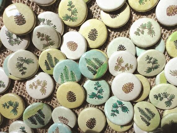 Rustic Wedding Favors -evergreen, evertrue -100 Handmade 1 Inch Pinback Buttons